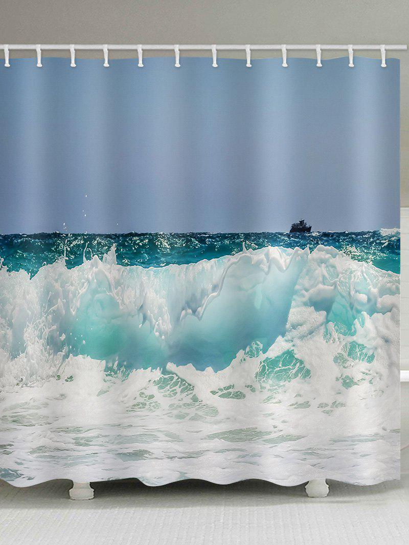 Fashion Rough Sea Print Waterproof Bathroom Shower Curtain