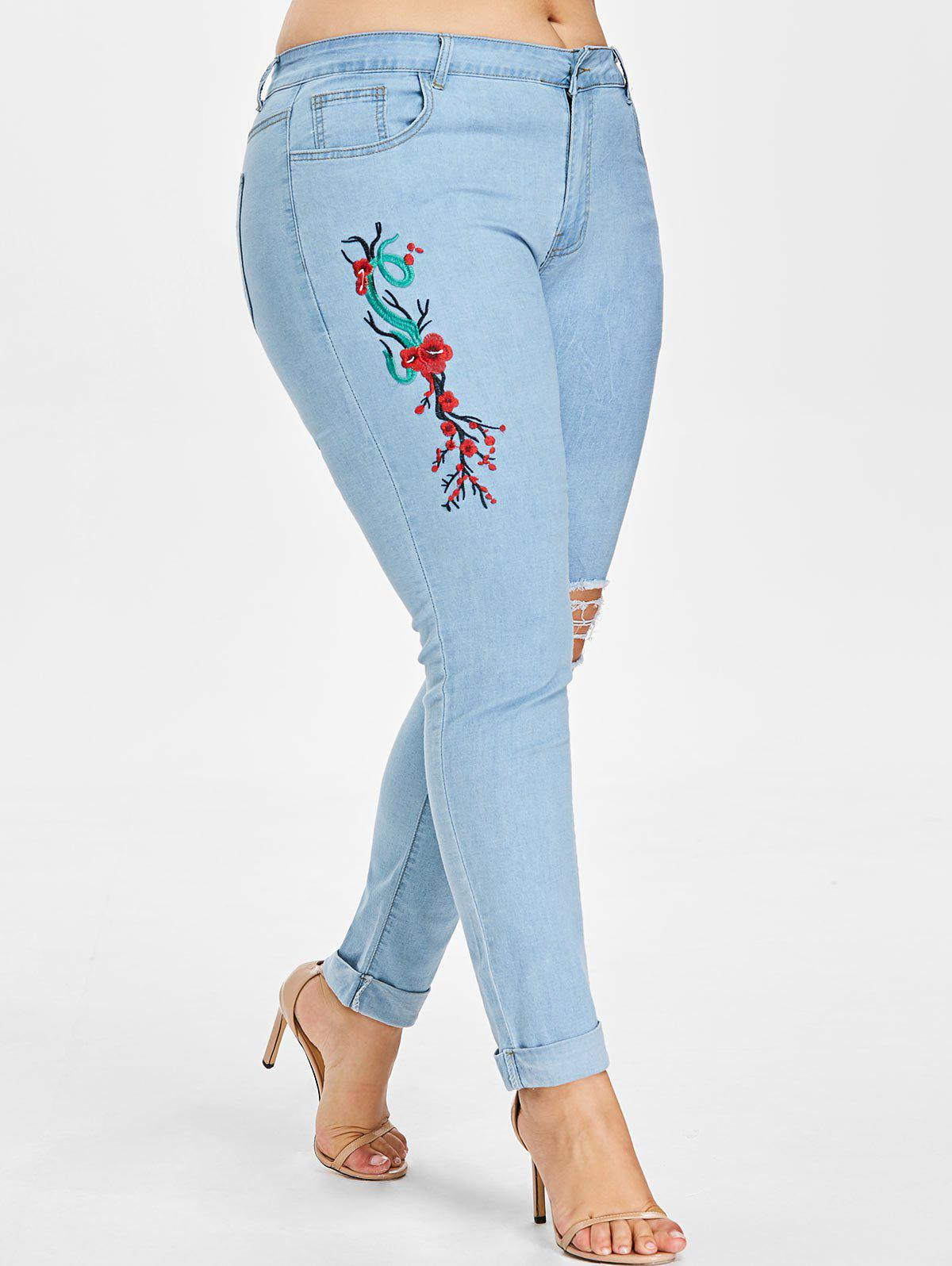 Buy Plus Size Embroidered Ripped Cuffed Jeans