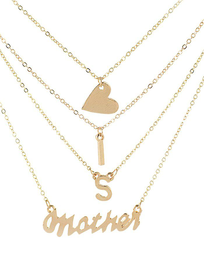 Discount Stylish Heart and Letters Multi Layer Pendant Necklace