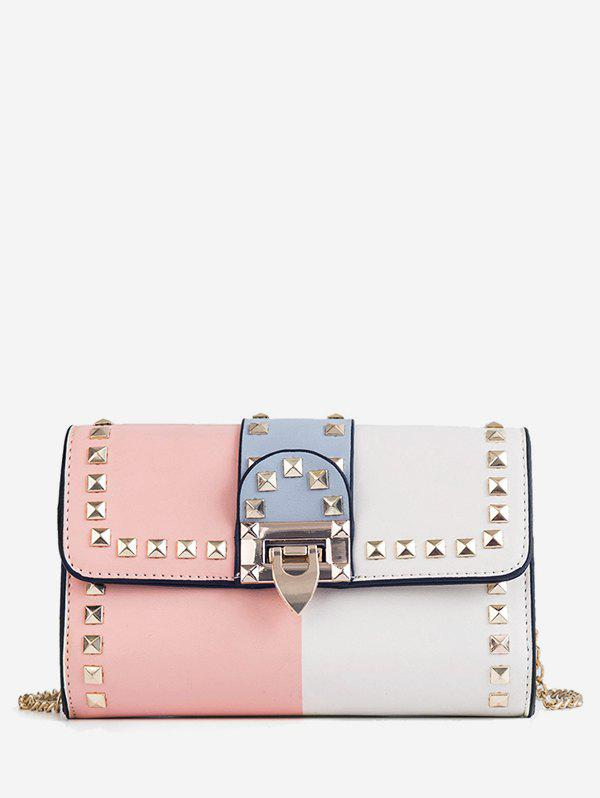 Trendy Contrasting Color Chain Studded Metallic Crossbody Bag