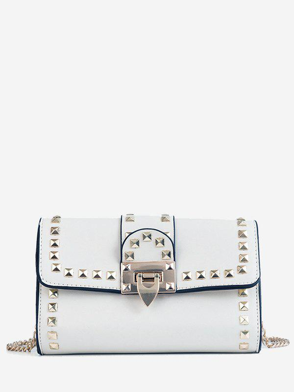 Outfits Contrasting Color Chain Studded Metallic Crossbody Bag