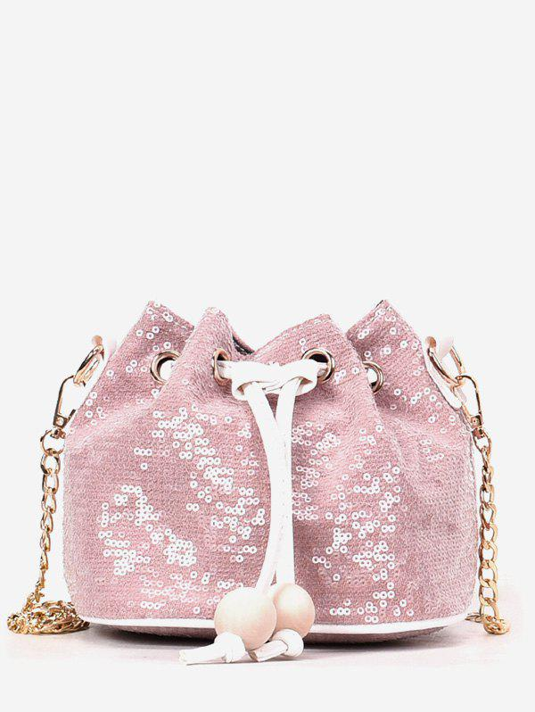 Online Beaded Sequins Metal Chain Bucket Shaped Sling Bag