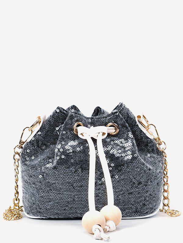 Discount Beaded Sequins Metal Chain Bucket Shaped Sling Bag