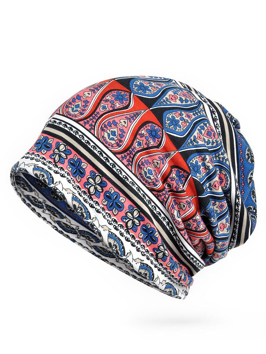 Discount Vintage Floral Pattern Open Two Beanie
