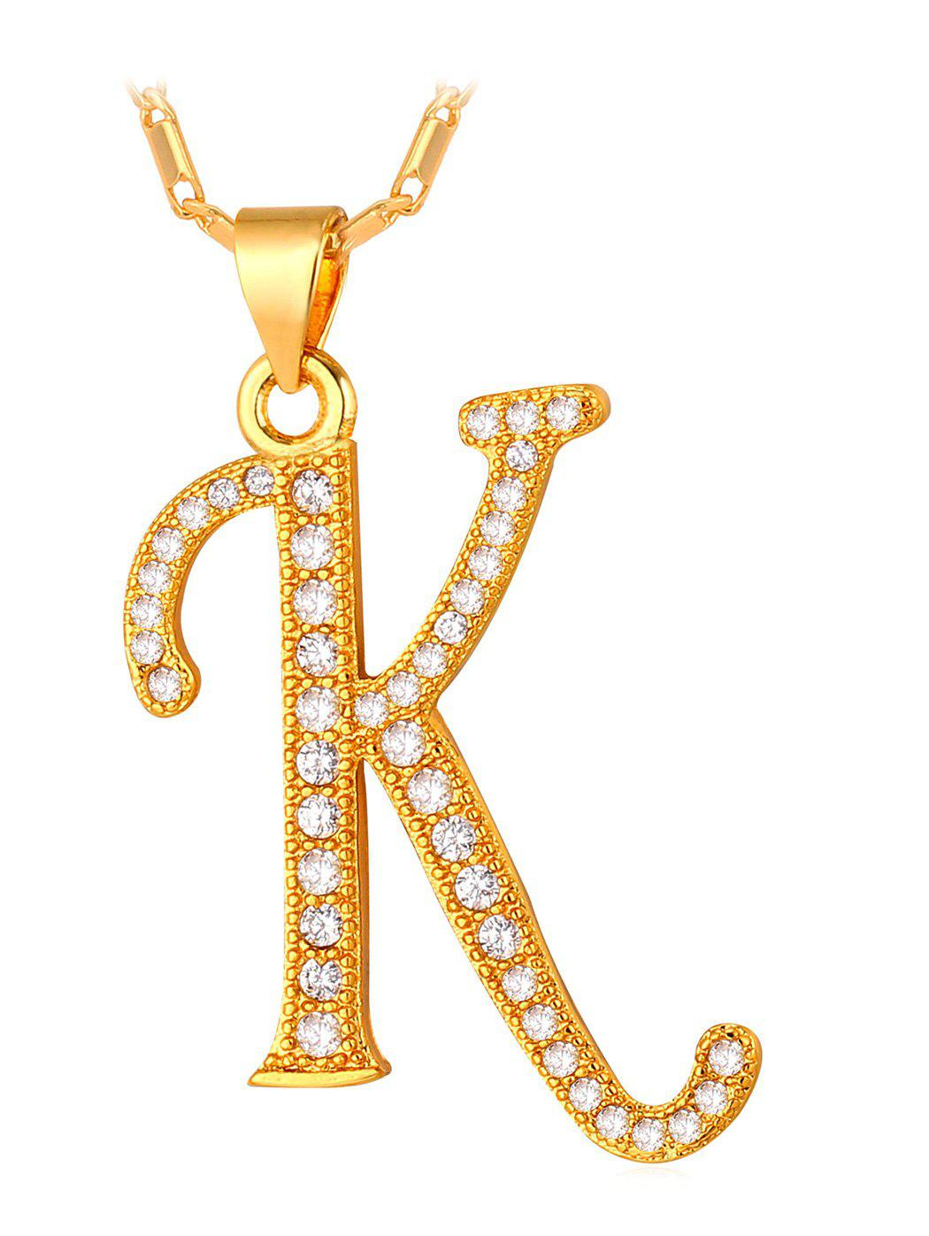 Outfit Stylish Rhinestone Inlaid Letter K Pendant Necklace