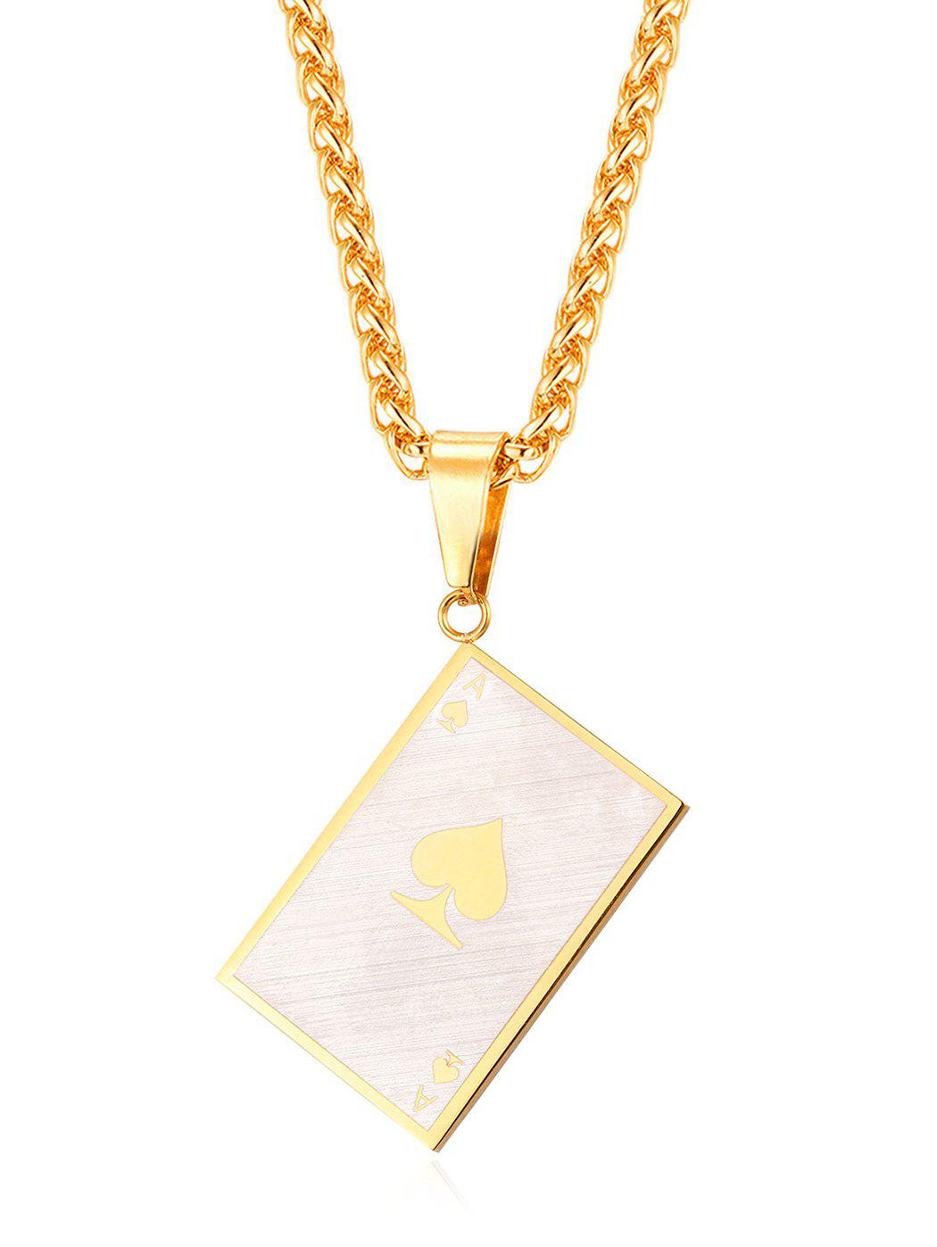 Fancy Poker Ace Decorative Pendant Chain Necklace