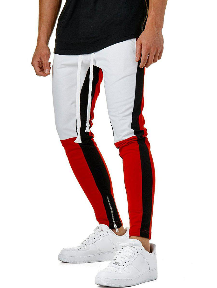 Cheap Hem Zipper Colorblock Track Pants