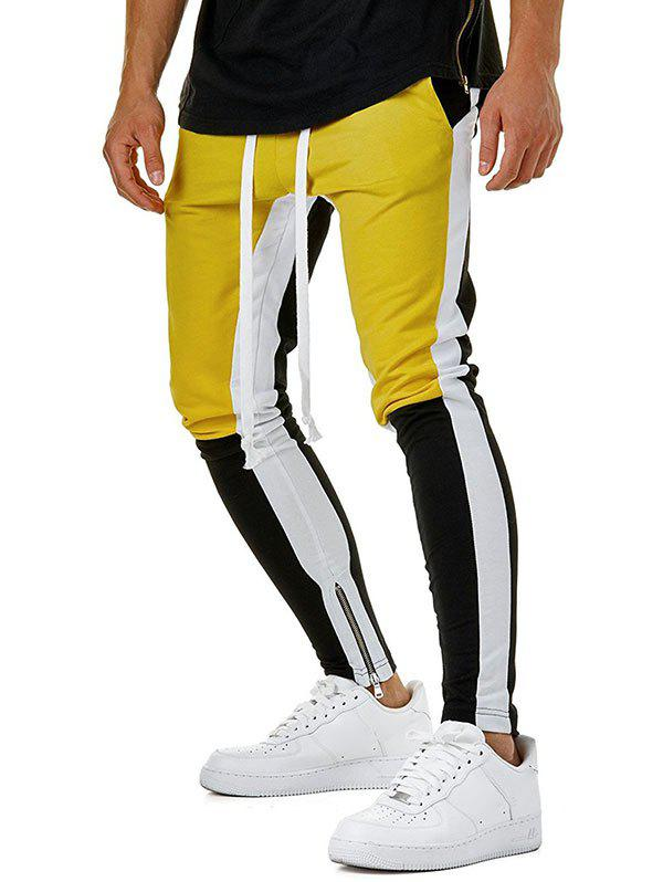 Unique Hem Zipper Colorblock Track Pants