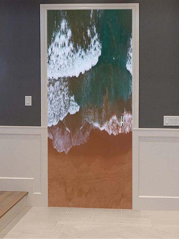 Trendy Wave Printed Removable Door Art Stickers