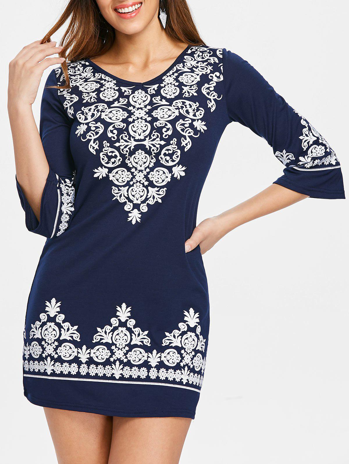 New V Neck Ethnic Print Shift Dress