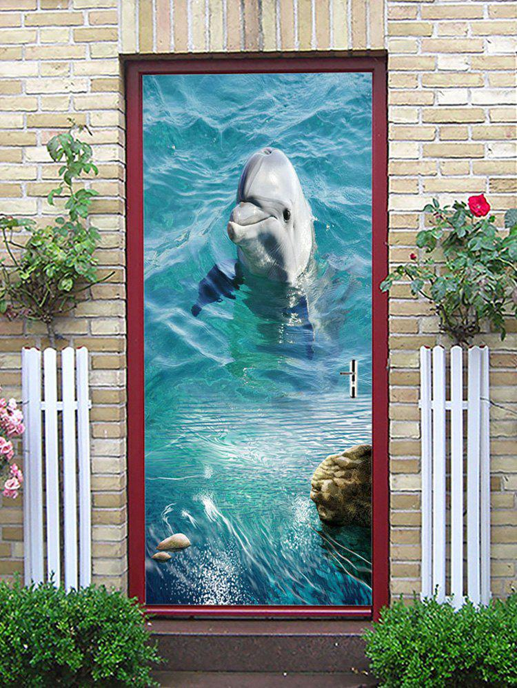 Cheap A Playing Dolphin Printed Door Stickers