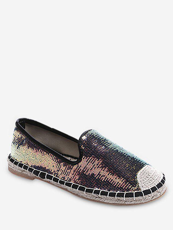 Sale Stitching Casual Sequined Espadrille Heel Flats