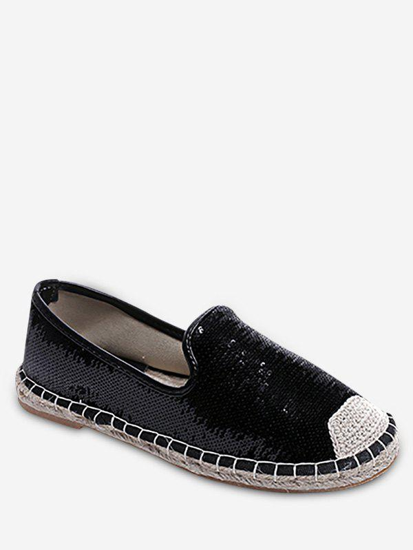 Latest Stitching Casual Sequined Espadrille Heel Flats