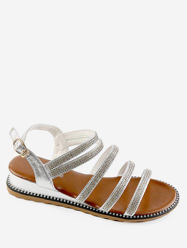 Hot Low Wedge Heel Rhinestone Multi Straps Sandals
