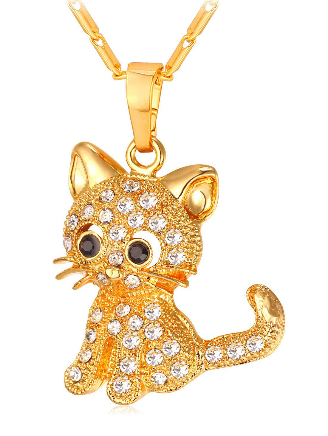 Hot Cute Rhinestone Cat Pendant Chain Necklace