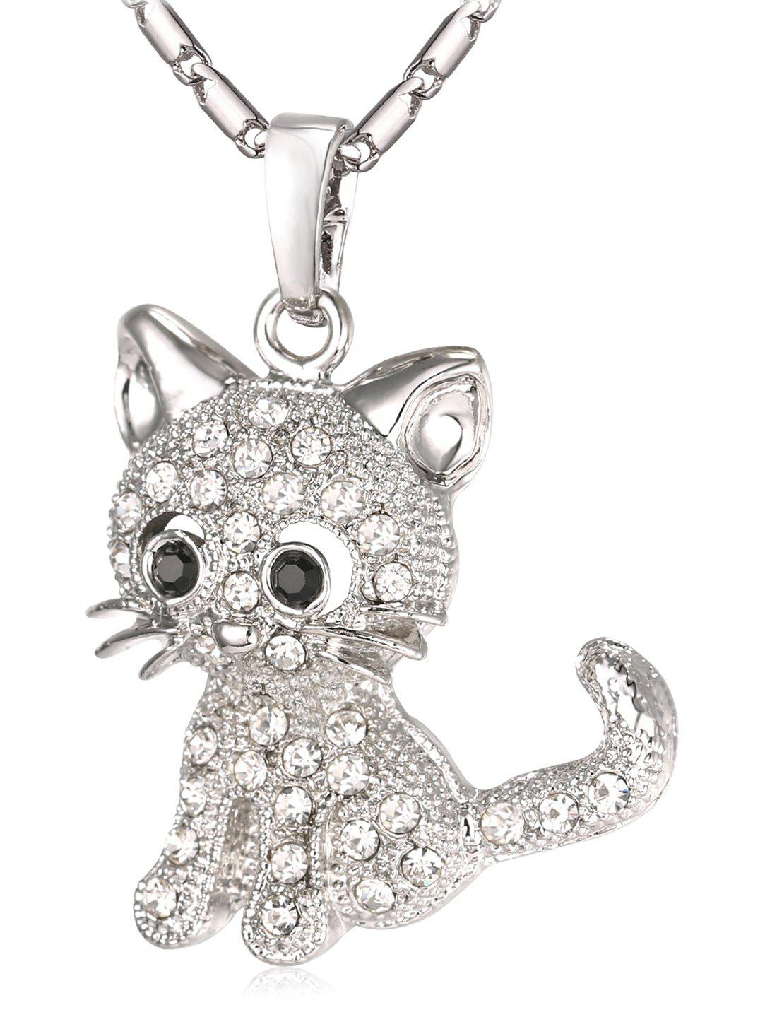 Online Cute Rhinestone Cat Pendant Chain Necklace
