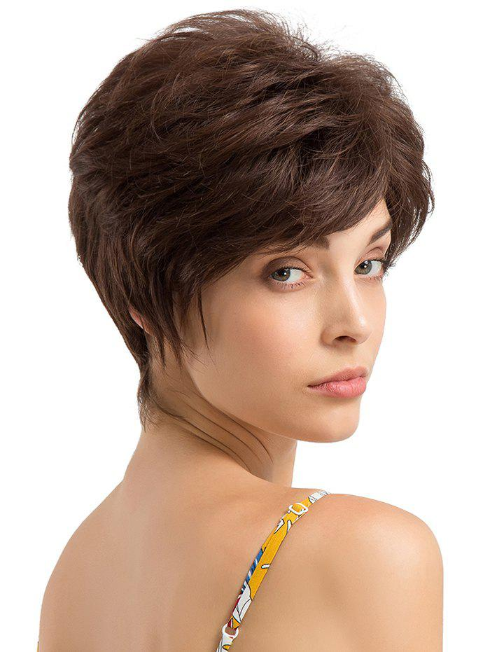 Online Short Inclined Bang Layer Straight Human Hair Wig