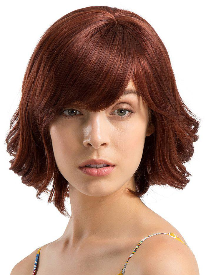 Best Short Side Bang Slightly Curly Party Human Hair Wig