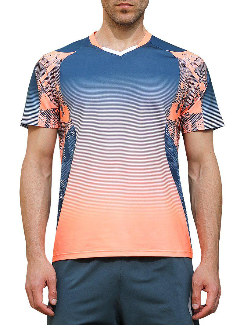 Best Ombre Geometrical Print Faster Moisture Absorption Tee
