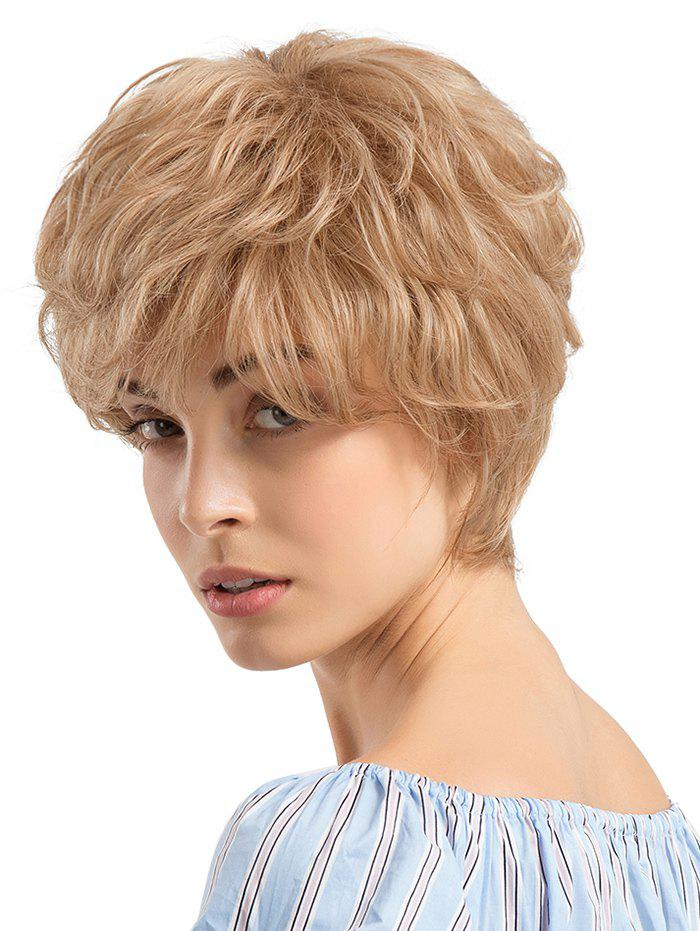 Fancy Short Side Bang Layer Slightly Curly Human Hair Wig