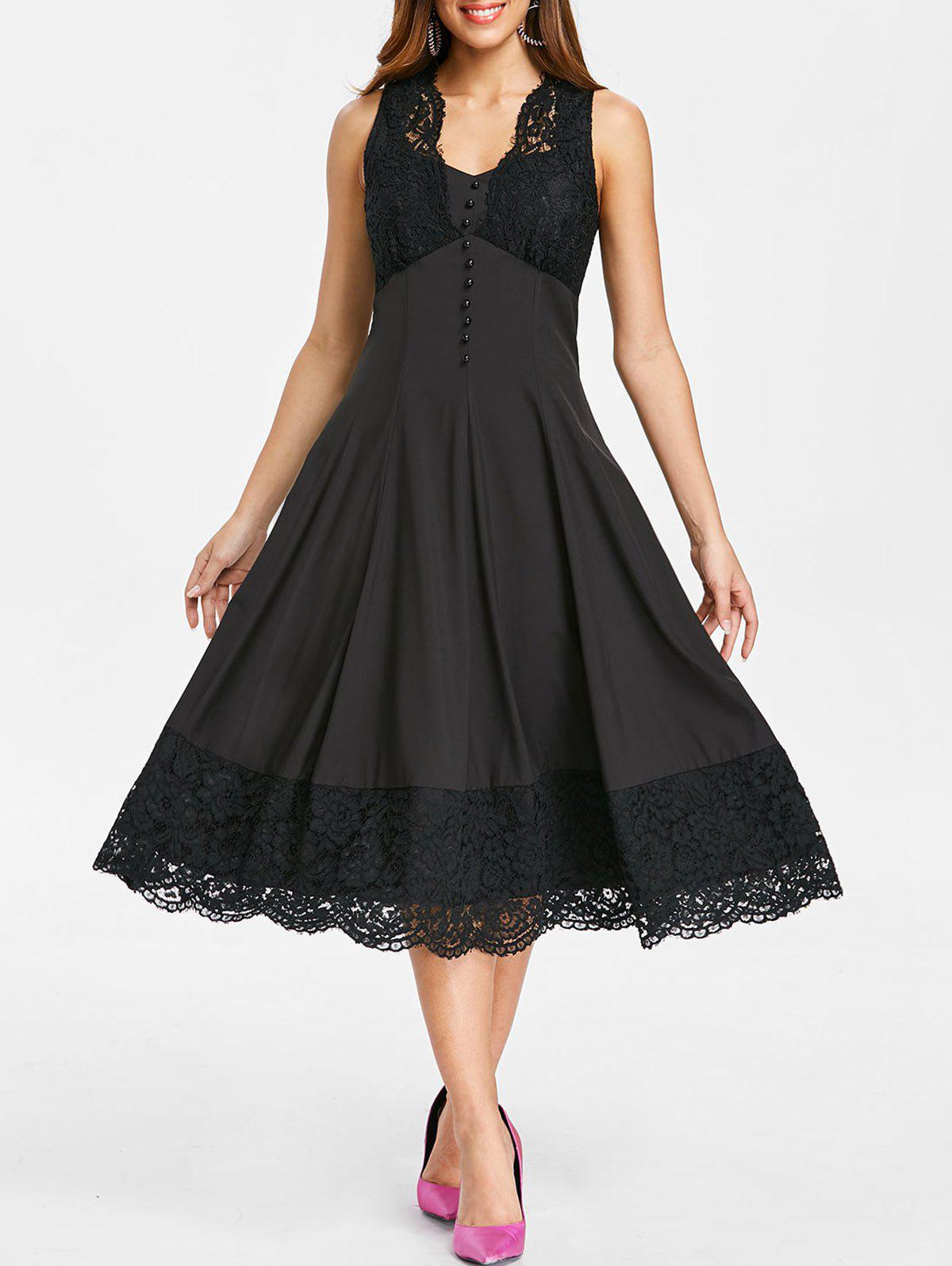 Affordable Retro Scalloped Lace Hemline Sleeveless Dress