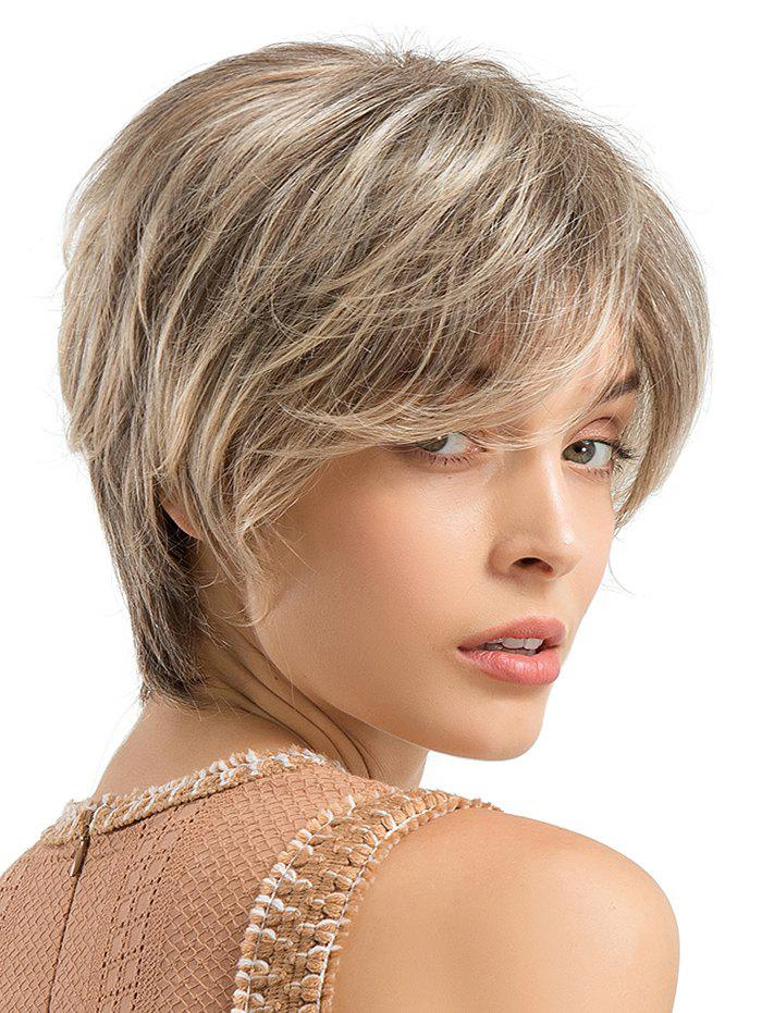 Latest Short Side Bang Colormix Straight Human Hair Wig