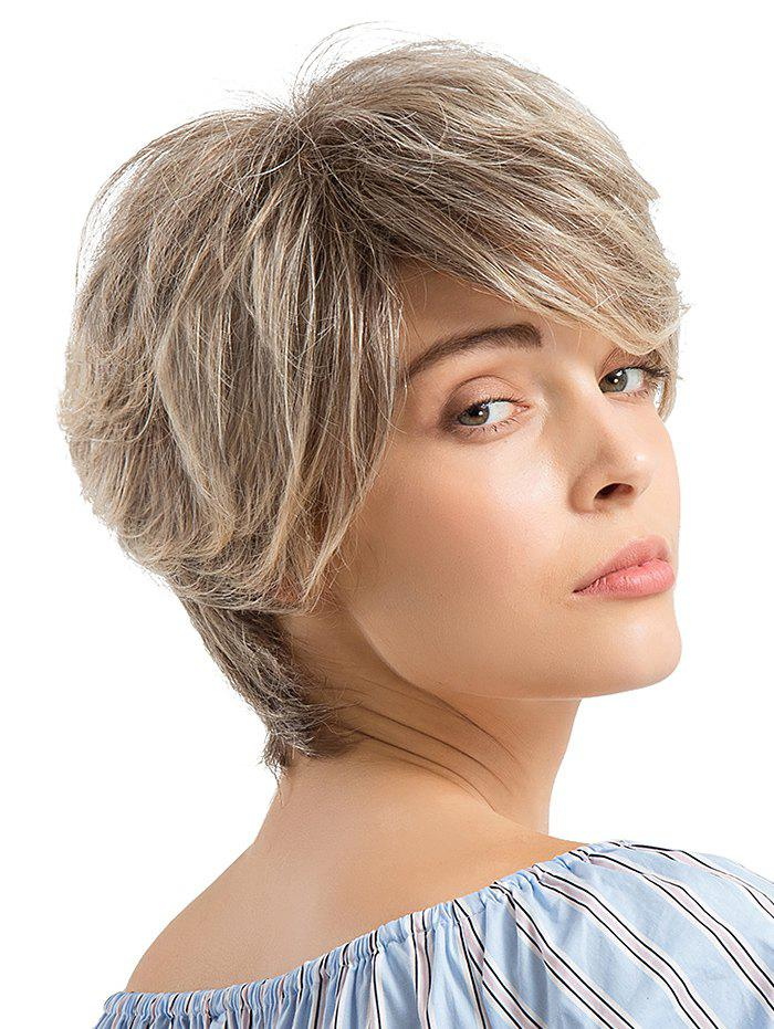 Affordable Short Layered Colormix Straight Human Hair Wig