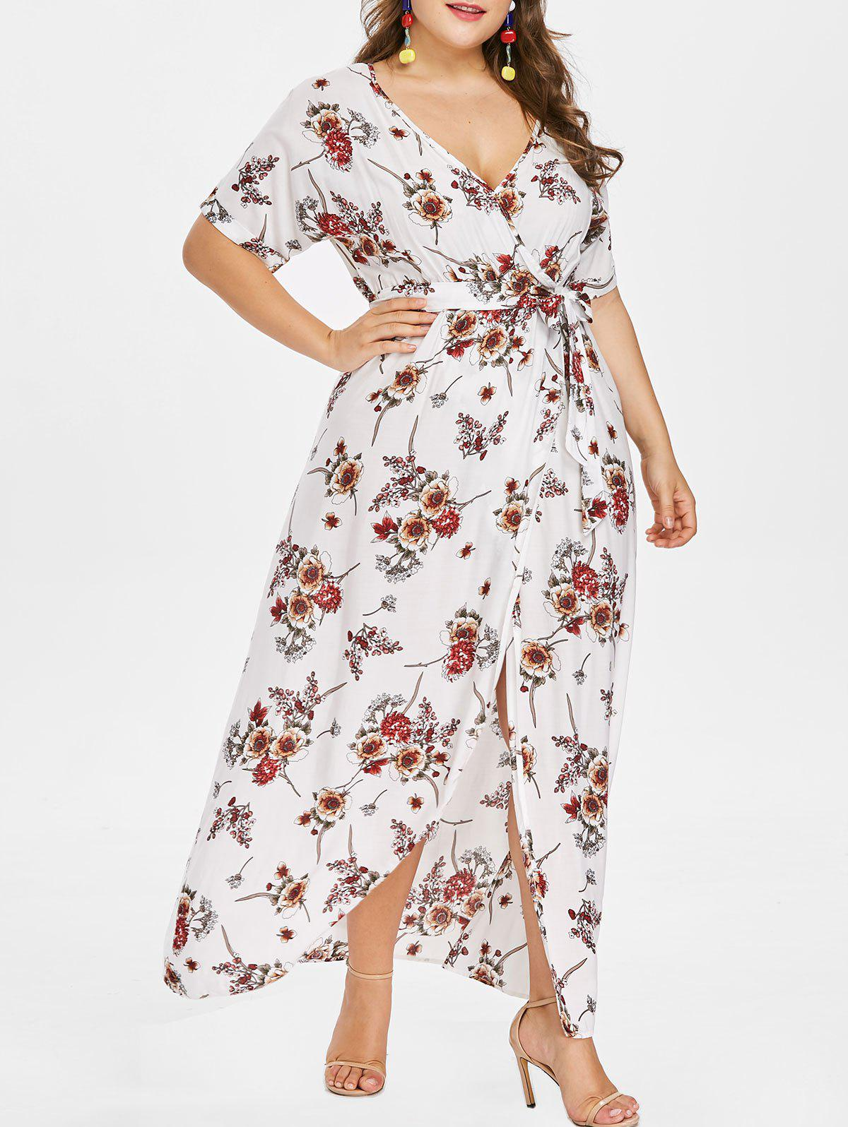 Best Plus Size Floral Maxi Surplice Dress