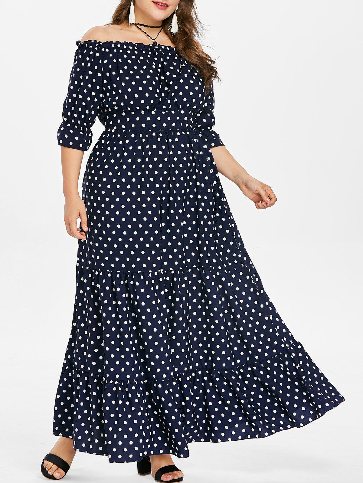 Sale Plus Size Off Shoulder Polka Dot Maxi Dress