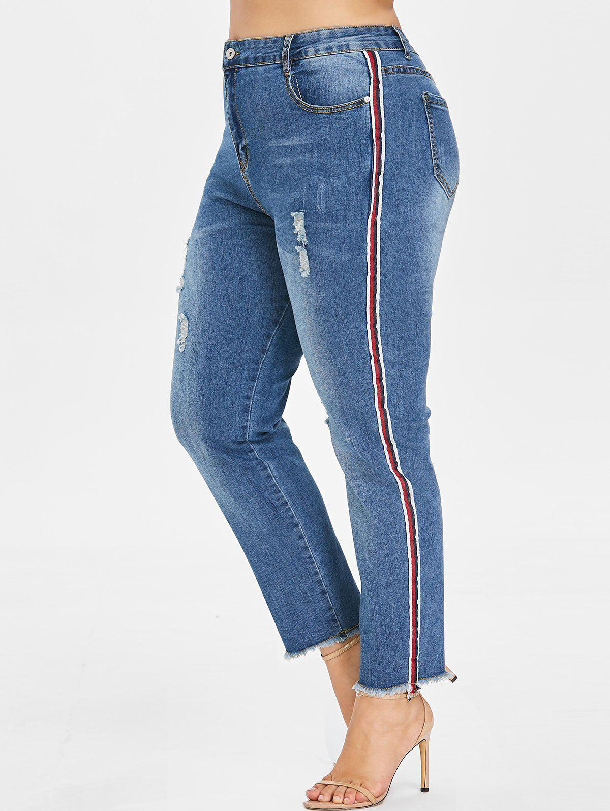 Discount Plus Size Sides Stripes Frayed Jeans