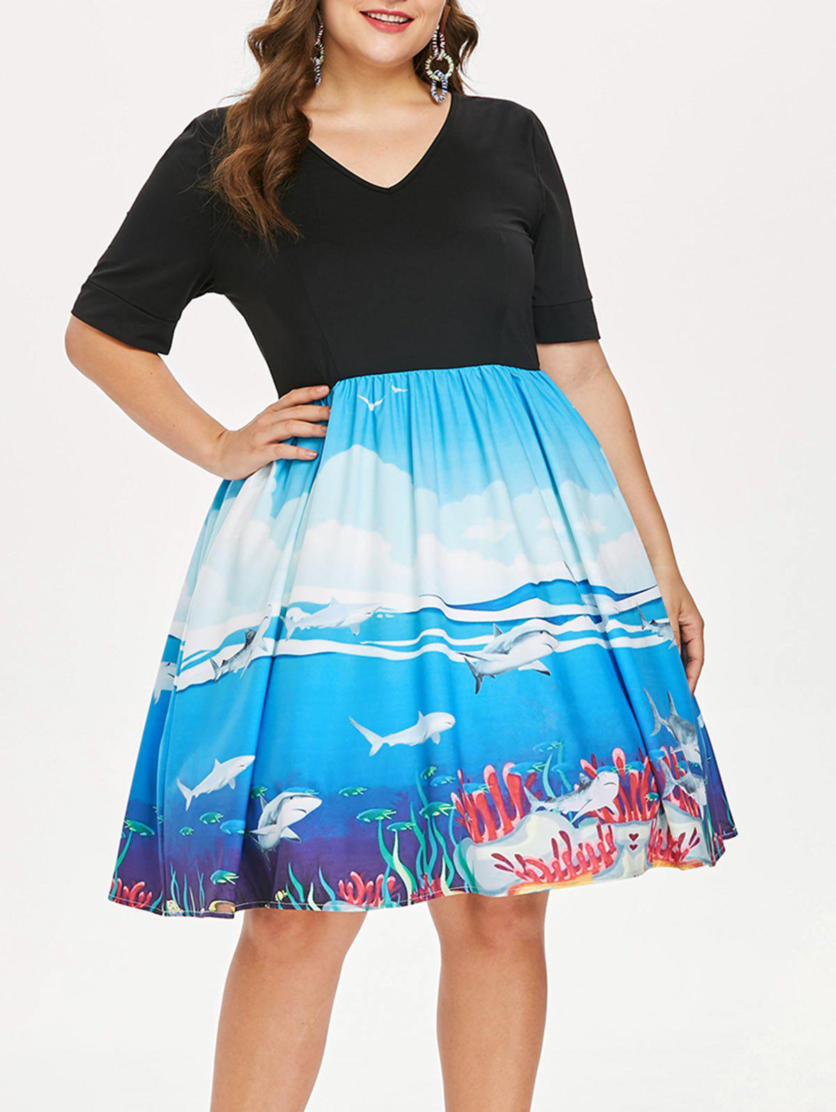 Trendy Plus Size Shark Print Tea Length Dress
