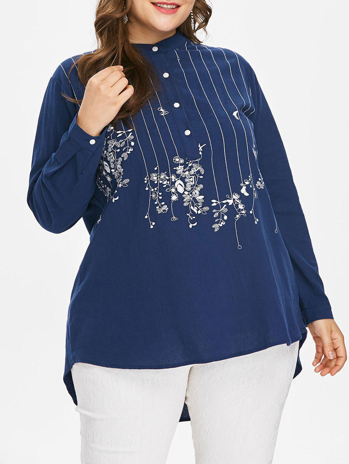 Buy Plus Size Embroidered High Low Blouse