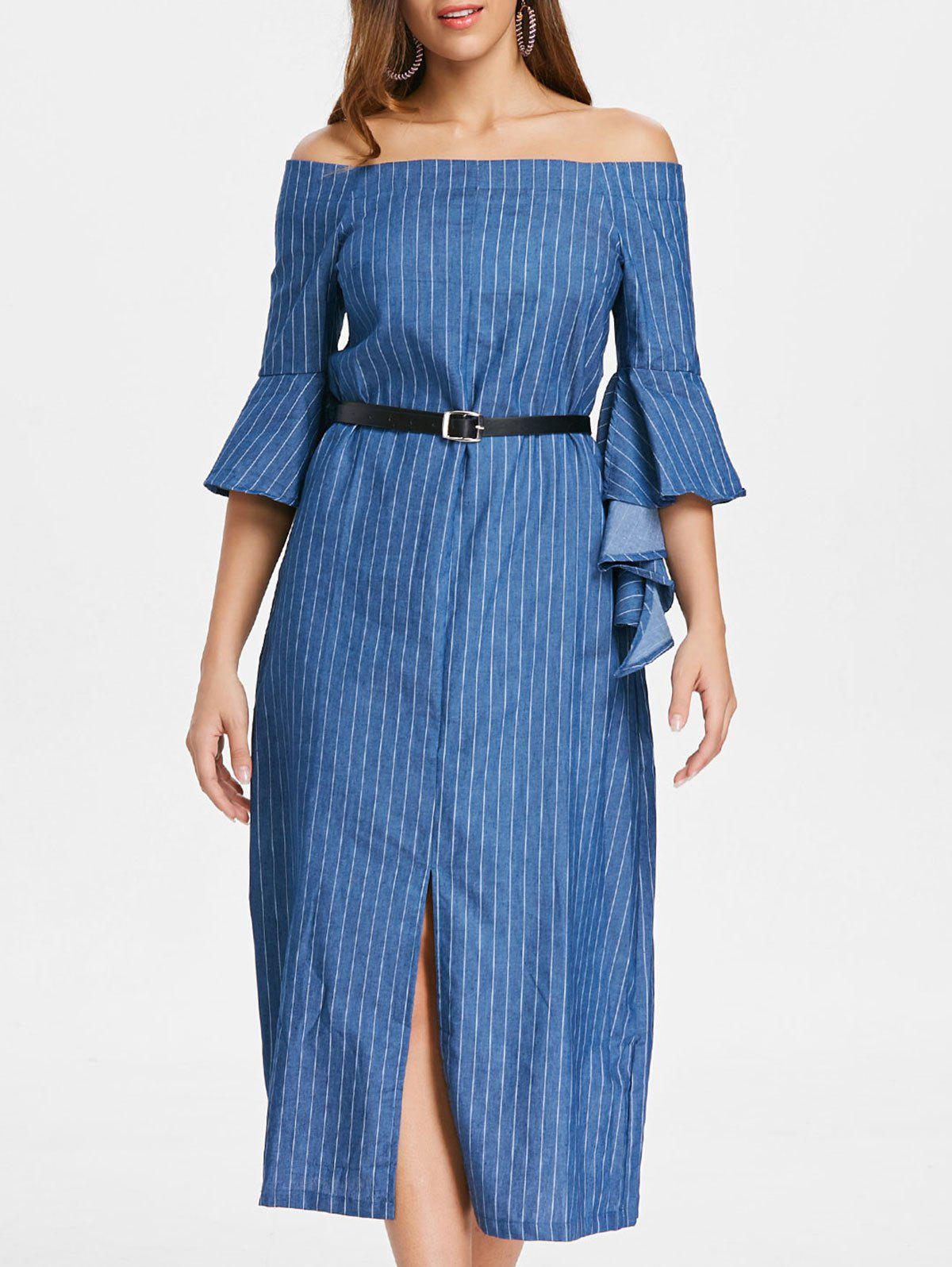 Online Off The Shoulder Slit Stripe Dress