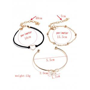 Heart Bowknot Designed Bracelets Set -