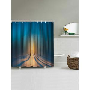 Blurry Forest Print Waterproof Shower Curtain -