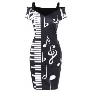 Cold Shoulder Notes Piano Print Party Dress -