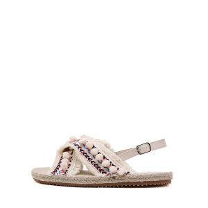 Frayed Edge Cross Strap Pompoms Leisure Sandals -