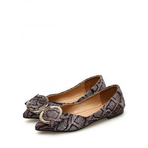 Daily Patchwork Print Metal Buckled Flats -