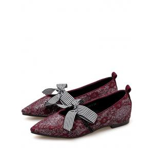 Vintage Striped Bowknot Pointed Toe Daily Flats -