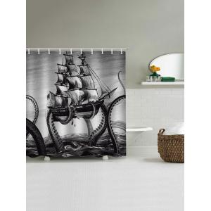 Octopus Ship Print Waterproof Bathroom Shower Curtain -