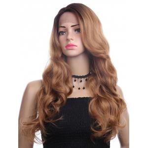 Long Side Parting Colormix Wavy Synthetic Lace Front Wig -