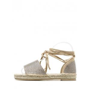 Lace Up Espadrille Crystals Leisure Voyage Sandales -