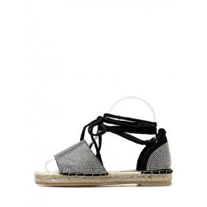 Lace Up Espadrille Crystals Leisure Travel Sandals -