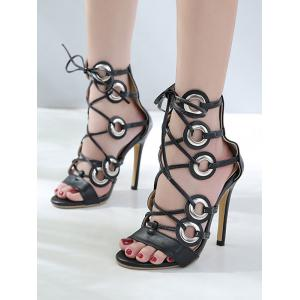 Lace Up Cut Out High Heel Pumps -
