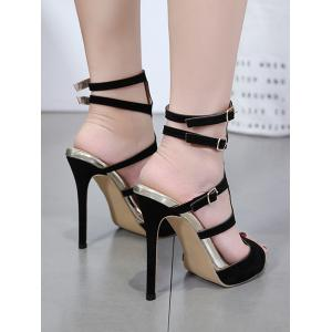 Peep Toe Stiletto Heel Hollow Out Party Sandals -