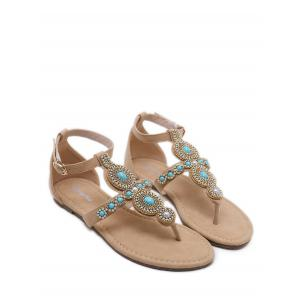 Leisure Holiday Rhinestone Ankle Strap Thong Sandals -