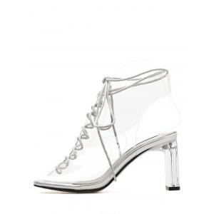 Peep Toe High Heel Transparent Cut Out Sandals -