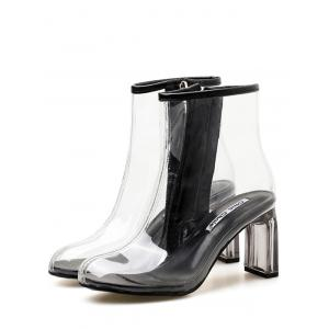 Bottines Chics en PVC Transparent à Talons Épais -