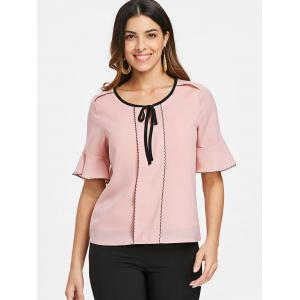 Flare Sleeve Color Trim Blouse -