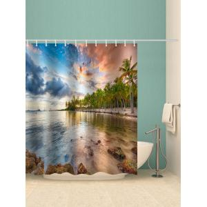 Sunset Glow Lake Print Waterproof Bathroom Curtain -
